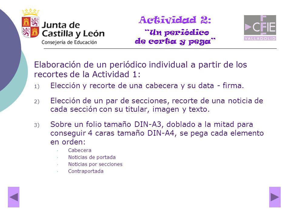 Elaboración de un periódico individual a partir de los recortes de la Actividad 1: 1) Elección y recorte de una cabecera y su data - firma. 2) Elecció
