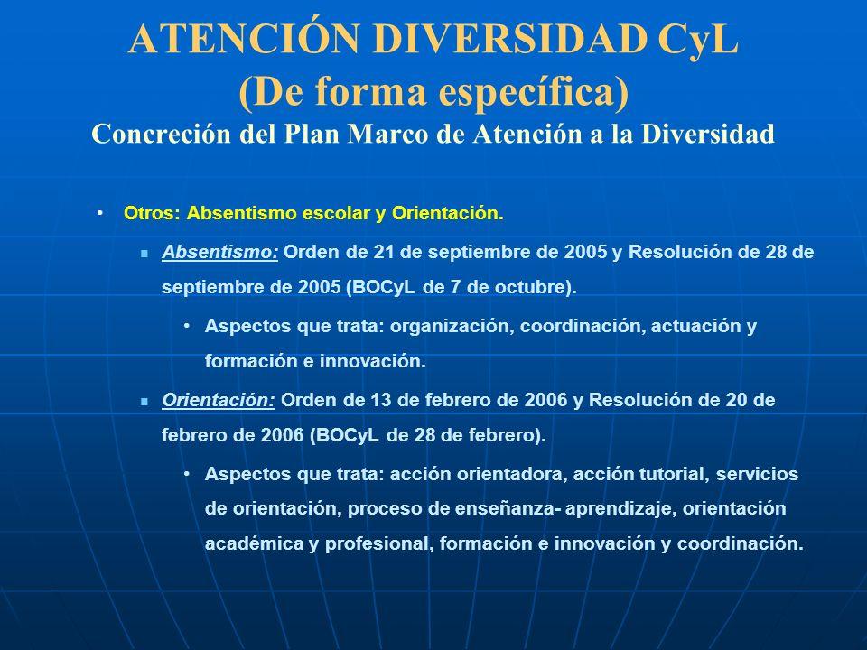 ATENCIÓN DIVERSIDAD CyL (De forma específica) Concreción del Plan Marco de Atención a la Diversidad Otros: Absentismo escolar y Orientación. Absentism