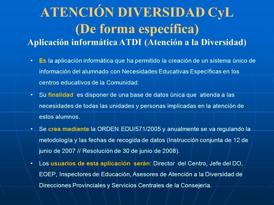 ATENCIÓN DIVERSIDAD CyL (De forma específica) Aplicación informática ATDI (Atención a la Diversidad) Es la aplicación informática que ha permitido la