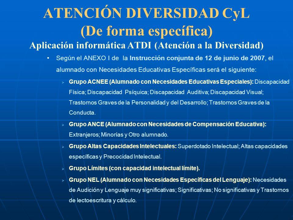ATENCIÓN DIVERSIDAD CyL (De forma específica) Aplicación informática ATDI (Atención a la Diversidad) Para la inclusión de los alumnos en este fichero tendrán que cumplirse una serie de requisitos dependiendo del grupo al que pertenezcan.
