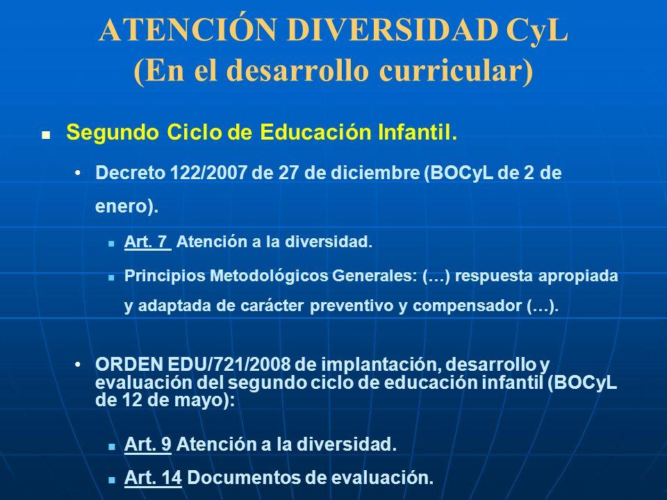 ATENCIÓN DIVERSIDAD CyL (En el desarrollo curricular) Segundo Ciclo de Educación Infantil. Decreto 122/2007 de 27 de diciembre (BOCyL de 2 de enero).