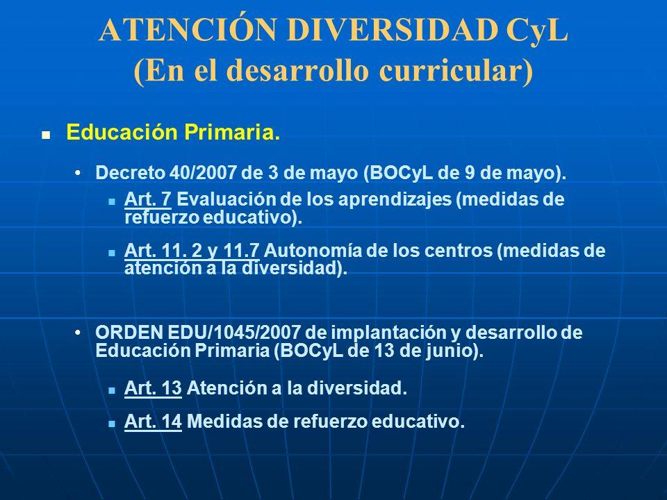 ATENCIÓN DIVERSIDAD CyL (En el desarrollo curricular) Educación Primaria. Decreto 40/2007 de 3 de mayo (BOCyL de 9 de mayo). Art. 7 Evaluación de los