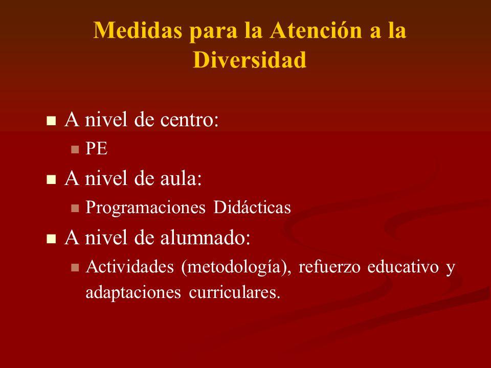 MEDIDAS ESPECÍFICAS ATENCIÓN DIVERSIDAD (A nivel de centro) Proyecto Educativo.