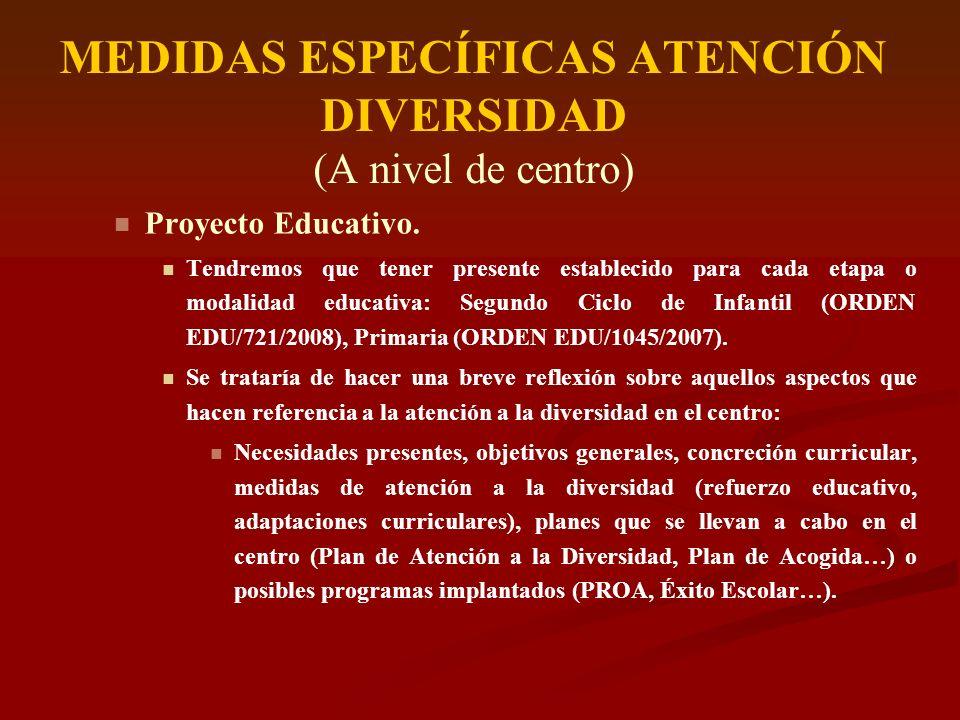 MEDIDAS ESPECÍFICAS ATENCIÓN DIVERSIDAD (A nivel de centro) Proyecto Educativo. Tendremos que tener presente establecido para cada etapa o modalidad e