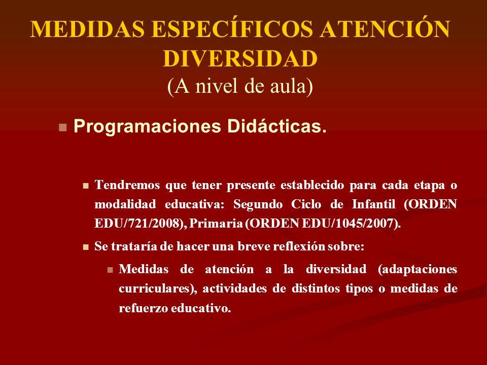 MEDIDAS ESPECÍFICOS ATENCIÓN DIVERSIDAD (A nivel de aula) Programaciones Didácticas. Tendremos que tener presente establecido para cada etapa o modali