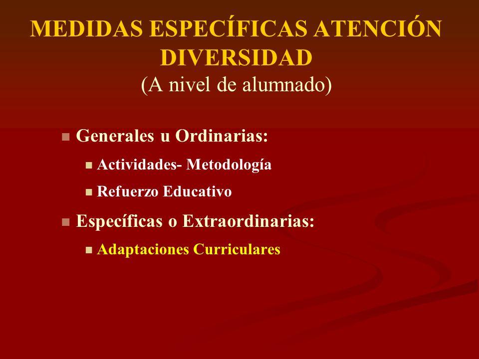 MEDIDAS ESPECÍFICAS ATENCIÓN DIVERSIDAD (A nivel de alumnado) Generales u Ordinarias: Actividades- Metodología Refuerzo Educativo Específicas o Extrao
