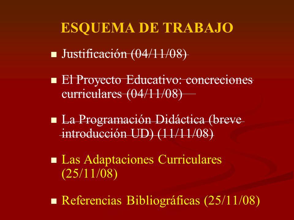 ESQUEMA DE TRABAJO Justificación (04/11/08) El Proyecto Educativo: concreciones curriculares (04/11/08) La Programación Didáctica (breve introducción