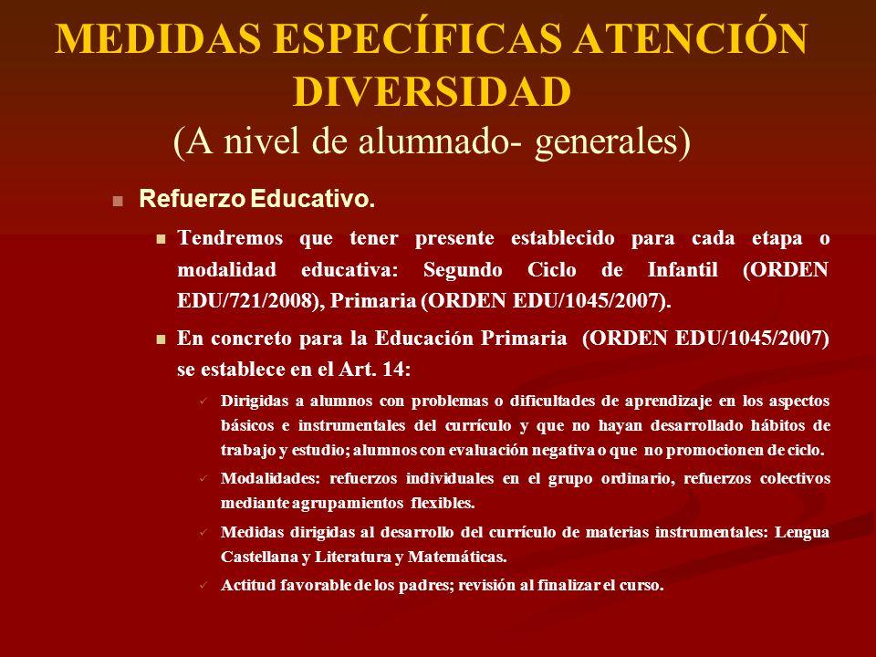 MEDIDAS ESPECÍFICAS ATENCIÓN DIVERSIDAD (A nivel de alumnado- generales) Refuerzo Educativo. Tendremos que tener presente establecido para cada etapa