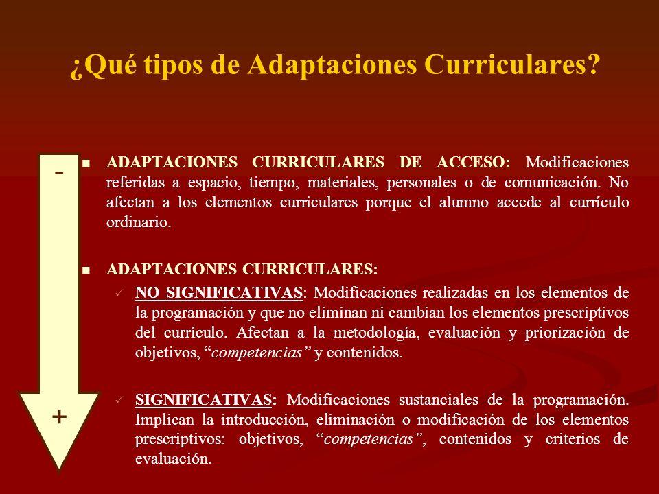 ¿Qué tipos de Adaptaciones Curriculares? ADAPTACIONES CURRICULARES DE ACCESO: Modificaciones referidas a espacio, tiempo, materiales, personales o de