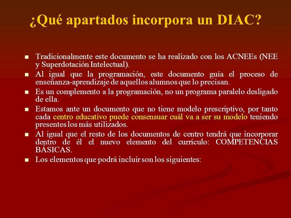 ¿Qué apartados incorpora un DIAC? Tradicionalmente este documento se ha realizado con los ACNEEs (NEE y Superdotación Intelectual). Al igual que la pr