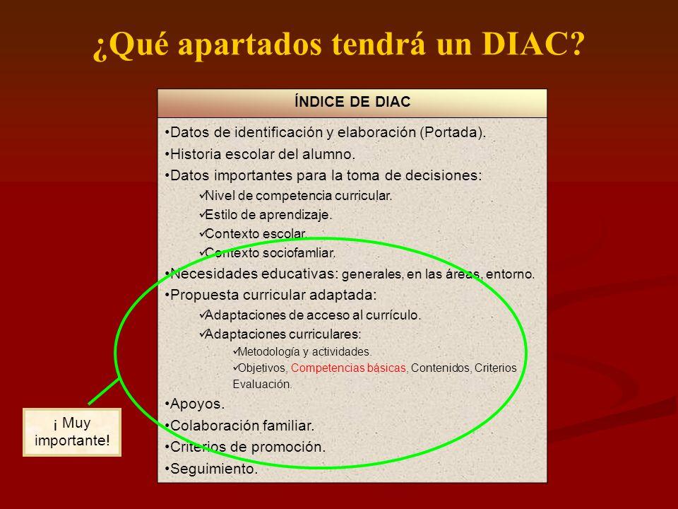 ¿Qué apartados tendrá un DIAC? ÍNDICE DE DIAC Datos de identificación y elaboración (Portada). Historia escolar del alumno. Datos importantes para la