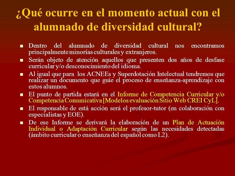 ¿Qué ocurre en el momento actual con el alumnado de diversidad cultural? Dentro del alumnado de diversidad cultural nos encontramos principalmente min