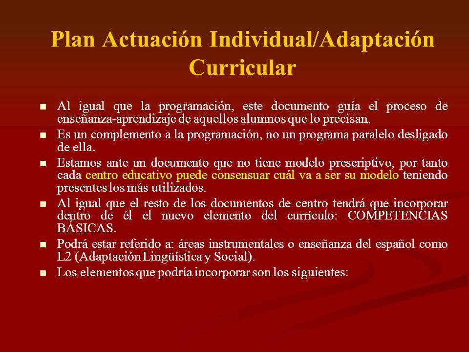 Plan Actuación Individual/Adaptación Curricular Al igual que la programación, este documento guía el proceso de enseñanza-aprendizaje de aquellos alum