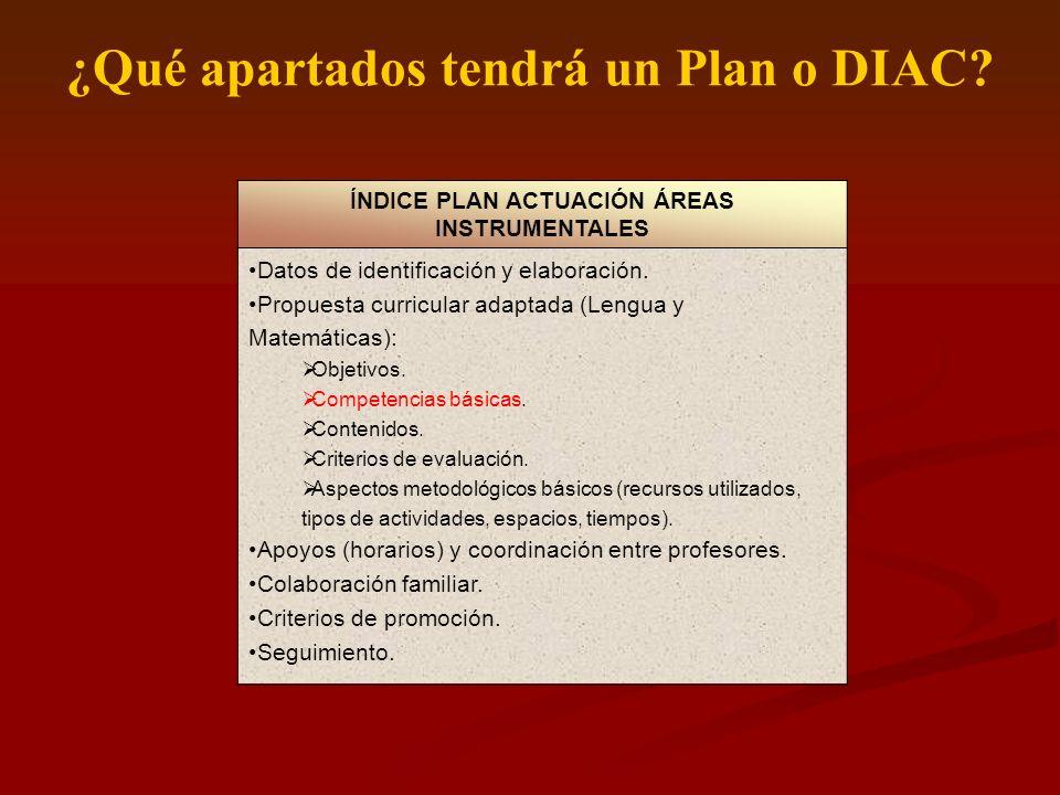 ¿Qué apartados tendrá un Plan o DIAC? ÍNDICE PLAN ACTUACIÓN ÁREAS INSTRUMENTALES Datos de identificación y elaboración. Propuesta curricular adaptada