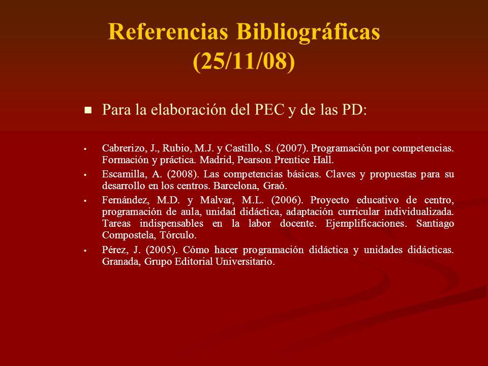 Referencias Bibliográficas (25/11/08) Para la elaboración del PEC y de las PD: Cabrerizo, J., Rubio, M.J. y Castillo, S. (2007). Programación por comp