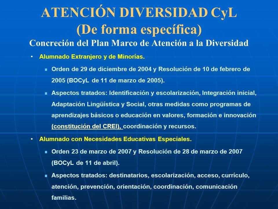 ATENCIÓN DIVERSIDAD CyL (De forma específica) Concreción del Plan Marco de Atención a la Diversidad Alumnado Extranjero y de Minorías. Orden de 29 de