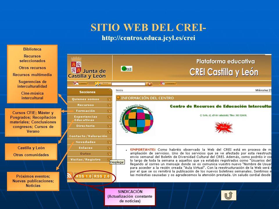 SITIO WEB DEL CREI- http://centros.educa.jcyl.es/crei Biblioteca Recursos seleccionados Otros recursos Recursos multimedia Sugerencias de intercultura