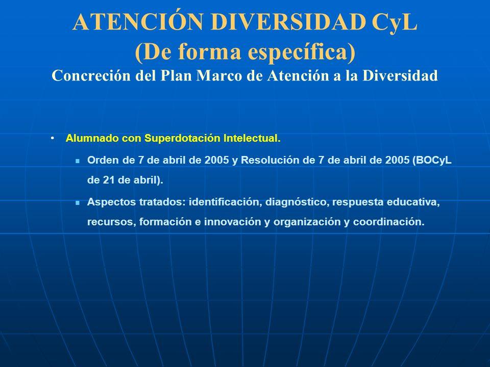 ATENCIÓN DIVERSIDAD CyL (De forma específica) Concreción del Plan Marco de Atención a la Diversidad Alumnado con Superdotación Intelectual. Orden de 7