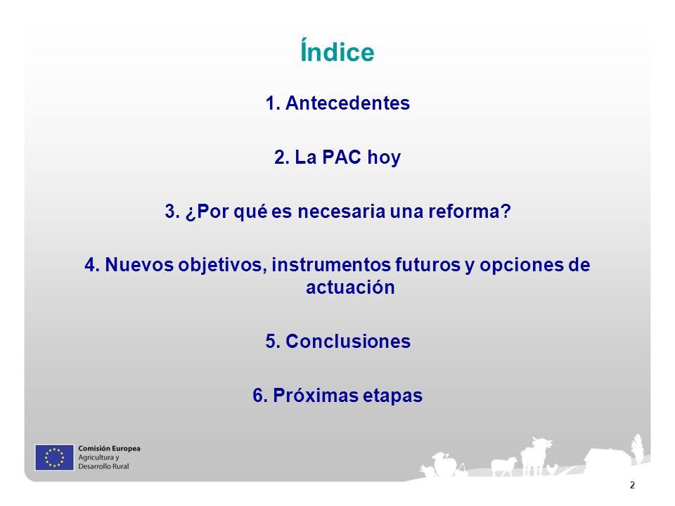 2 Índice 1. Antecedentes 2. La PAC hoy 3. ¿Por qué es necesaria una reforma? 4. Nuevos objetivos, instrumentos futuros y opciones de actuación 5. Conc