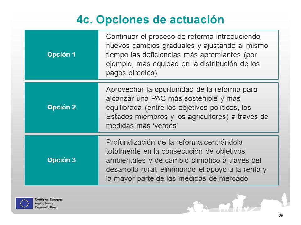 26 4c. Opciones de actuación Opción 1 Continuar el proceso de reforma introduciendo nuevos cambios graduales y ajustando al mismo tiempo las deficienc