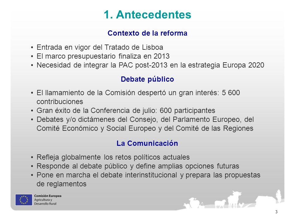 3 1. Antecedentes Contexto de la reforma Entrada en vigor del Tratado de Lisboa El marco presupuestario finaliza en 2013 Necesidad de integrar la PAC