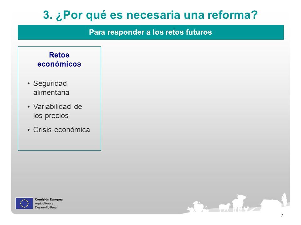 7 3. ¿Por qué es necesaria una reforma? Para responder a los retos futuros Retos económicos Seguridad alimentaria Variabilidad de los precios Crisis e