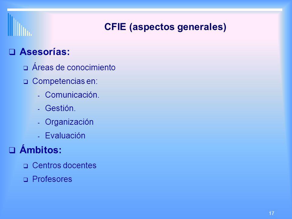 17 CFIE (aspectos generales) Asesorías: Áreas de conocimiento Competencias en: - Comunicación.