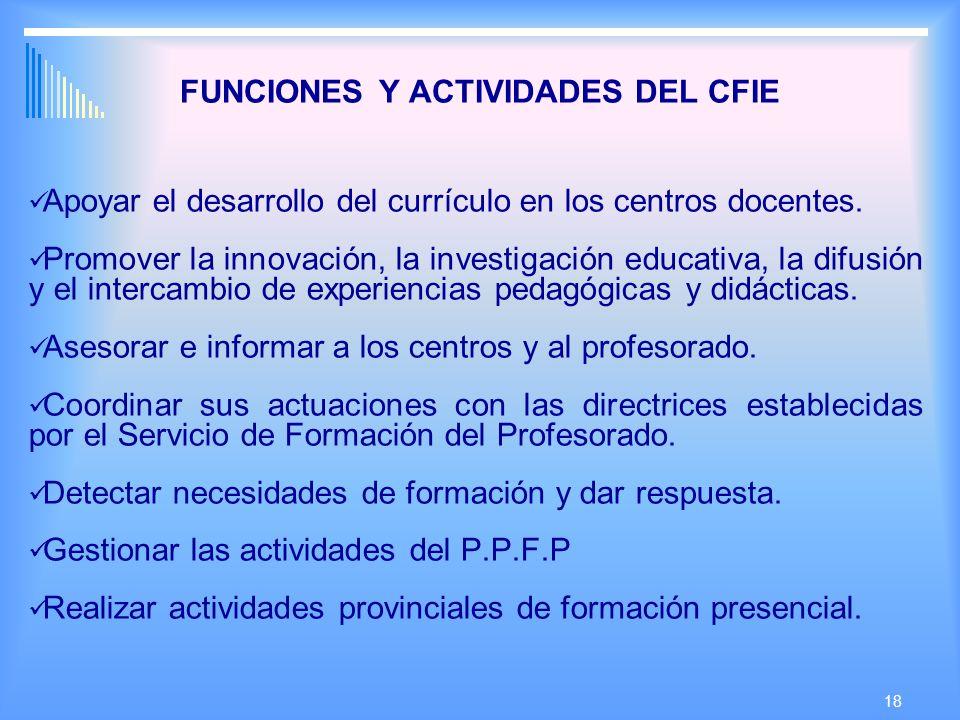 18 FUNCIONES Y ACTIVIDADES DEL CFIE Apoyar el desarrollo del currículo en los centros docentes.