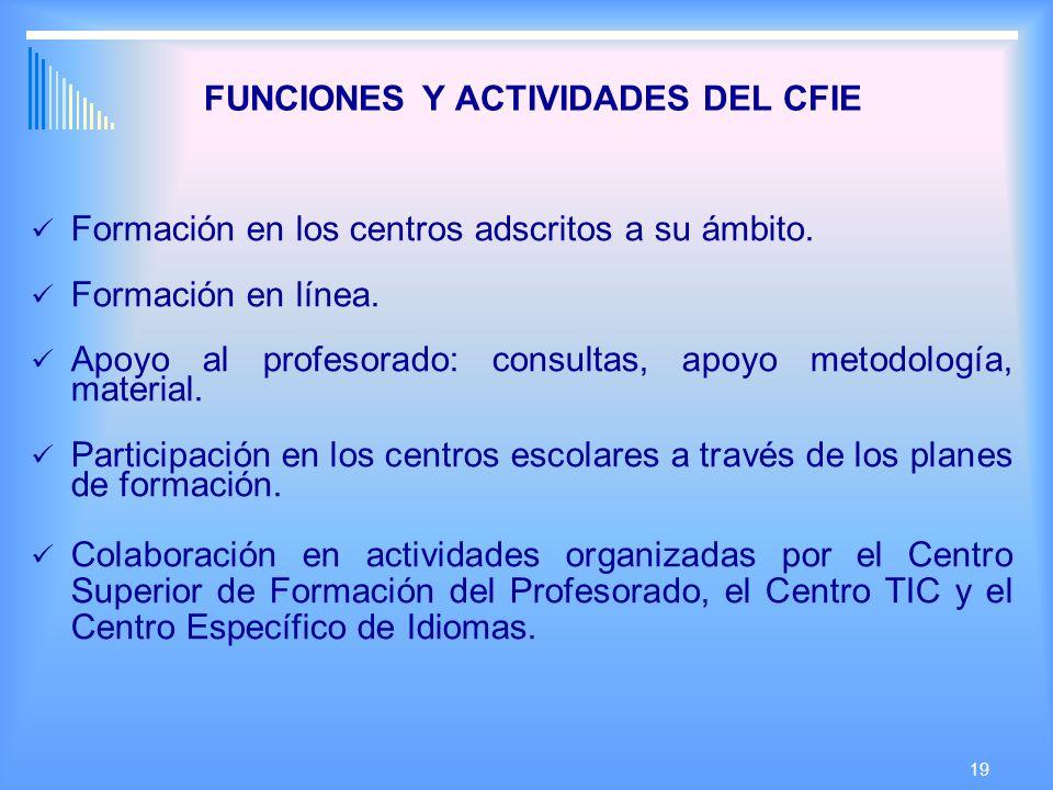 19 FUNCIONES Y ACTIVIDADES DEL CFIE Formación en los centros adscritos a su ámbito.