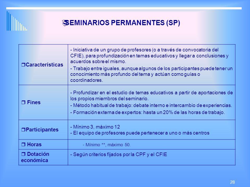 28 SEMINARIOS PERMANENTES (SP) Características - Iniciativa de un grupo de profesores (o a través de convocatoria del CFIE), para profundización en temas educativos y llegar a conclusiones y acuerdos sobre el mismo.