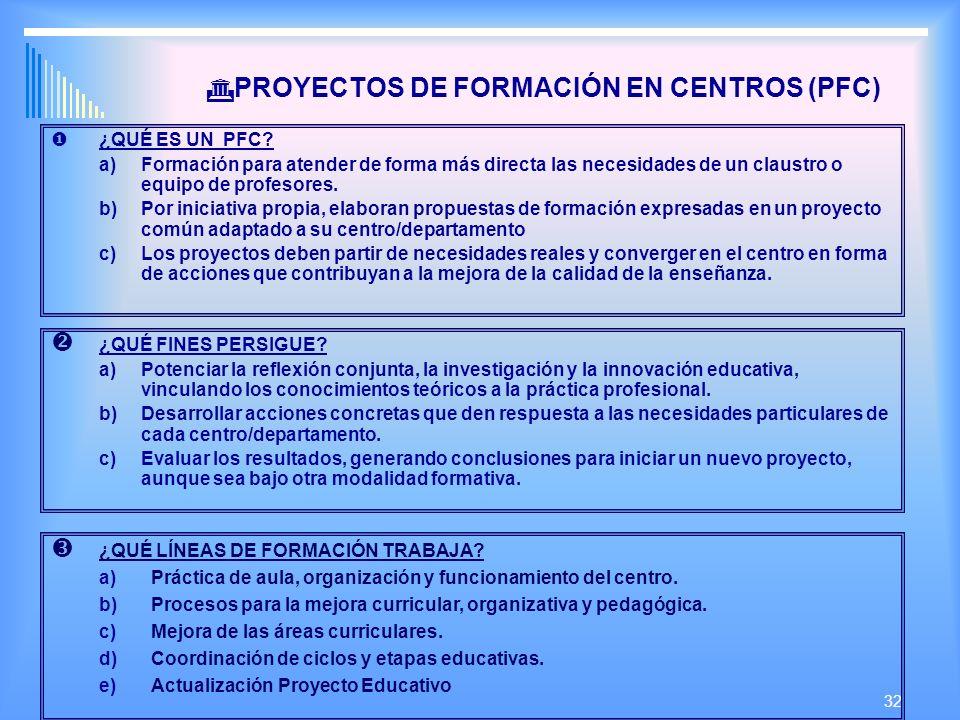 32 PROYECTOS DE FORMACIÓN EN CENTROS (PFC) ¿QUÉ ES UN PFC.