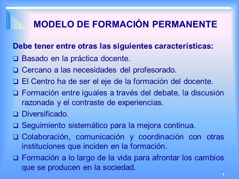 4 MODELO DE FORMACIÓN PERMANENTE Debe tener entre otras las siguientes características: Basado en la práctica docente.