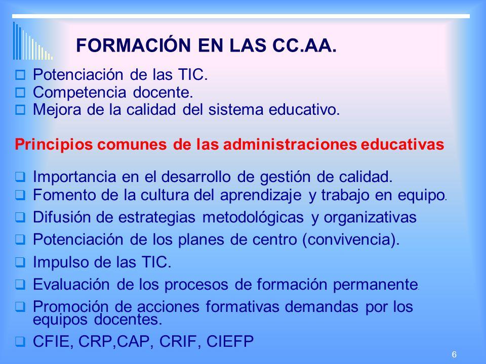 6 FORMACIÓN EN LAS CC.AA.Potenciación de las TIC.