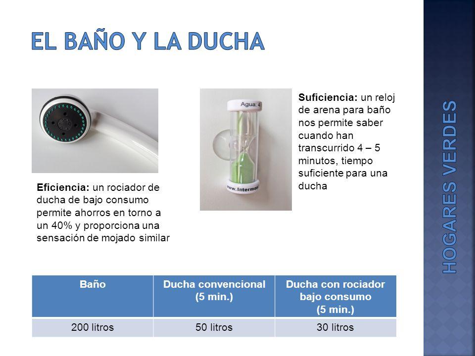 BañoDucha convencional (5 min.) Ducha con rociador bajo consumo (5 min.) 200 litros50 litros30 litros Eficiencia: un rociador de ducha de bajo consumo