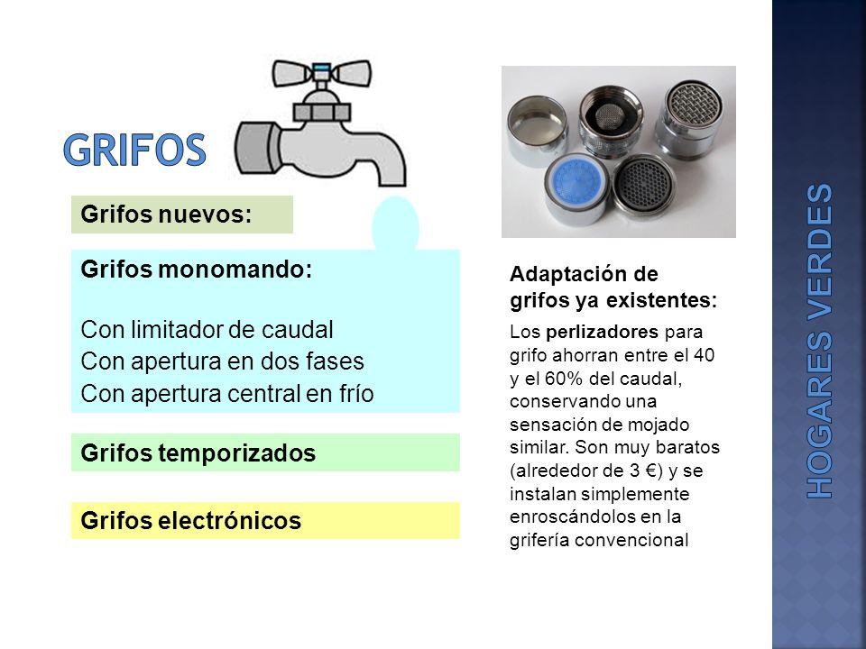 Grifos monomando: Con limitador de caudal Con apertura en dos fases Con apertura central en frío Grifos temporizados Grifos electrónicos Adaptación de