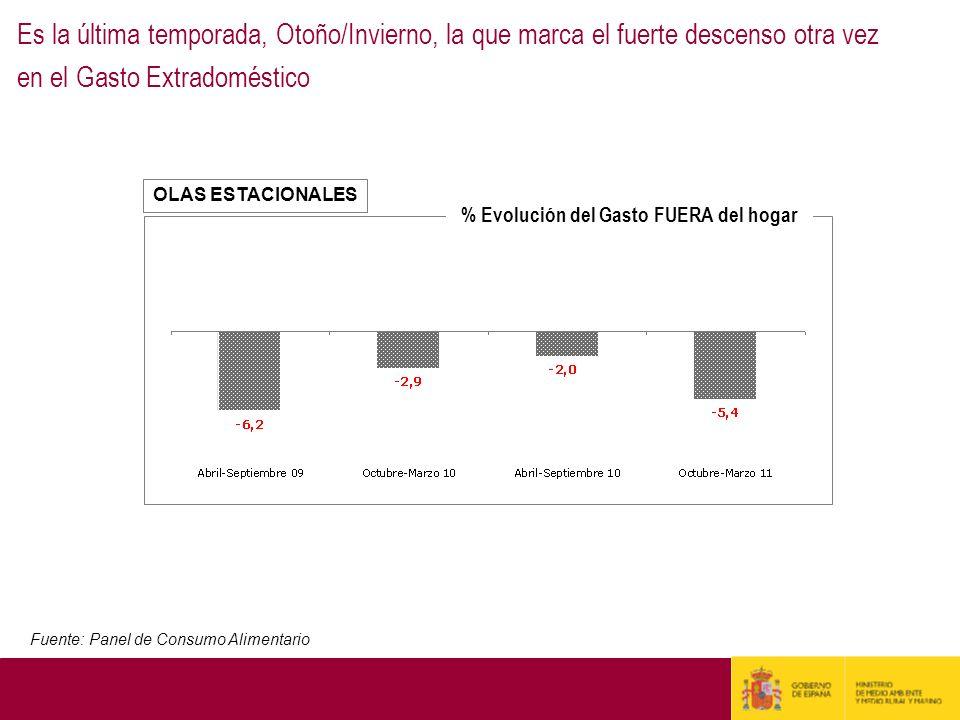 OLAS ESTACIONALES Es la última temporada, Otoño/Invierno, la que marca el fuerte descenso otra vez en el Gasto Extradoméstico Fuente: Panel de Consumo