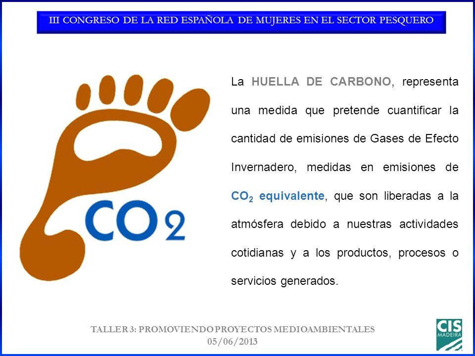 III CONGRESO DE LA RED ESPAÑOLA DE MUJERES EN EL SECTOR PESQUERO TALLER 3: PROMOVIENDO PROYECTOS MEDIOAMBIENTALES 05/06/2013 La HUELLA DE CARBONO, representa una medida que pretende cuantificar la cantidad de emisiones de Gases de Efecto Invernadero, medidas en emisiones de CO 2 equivalente, que son liberadas a la atmósfera debido a nuestras actividades cotidianas y a los productos, procesos o servicios generados.