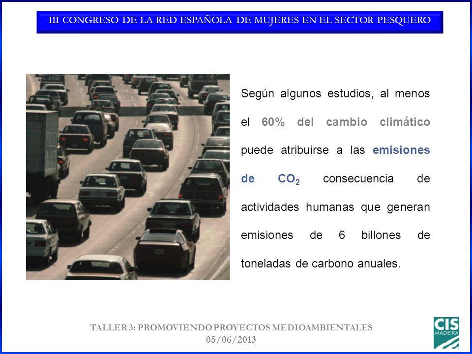 III CONGRESO DE LA RED ESPAÑOLA DE MUJERES EN EL SECTOR PESQUERO TALLER 3: PROMOVIENDO PROYECTOS MEDIOAMBIENTALES 05/06/2013 Según algunos estudios, al menos el 60% del cambio climático puede atribuirse a las emisiones de CO 2 consecuencia de actividades humanas que generan emisiones de 6 billones de toneladas de carbono anuales.