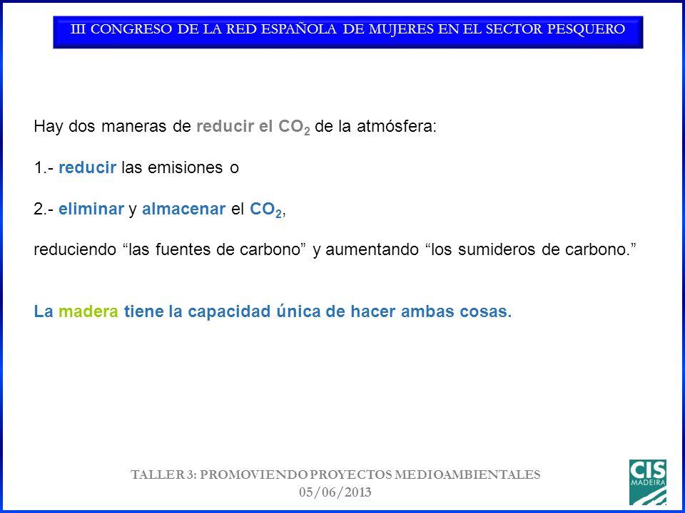 III CONGRESO DE LA RED ESPAÑOLA DE MUJERES EN EL SECTOR PESQUERO TALLER 3: PROMOVIENDO PROYECTOS MEDIOAMBIENTALES 05/06/2013 Hay dos maneras de reducir el CO 2 de la atmósfera: 1.- reducir las emisiones o 2.- eliminar y almacenar el CO 2, reduciendo las fuentes de carbono y aumentando los sumideros de carbono.