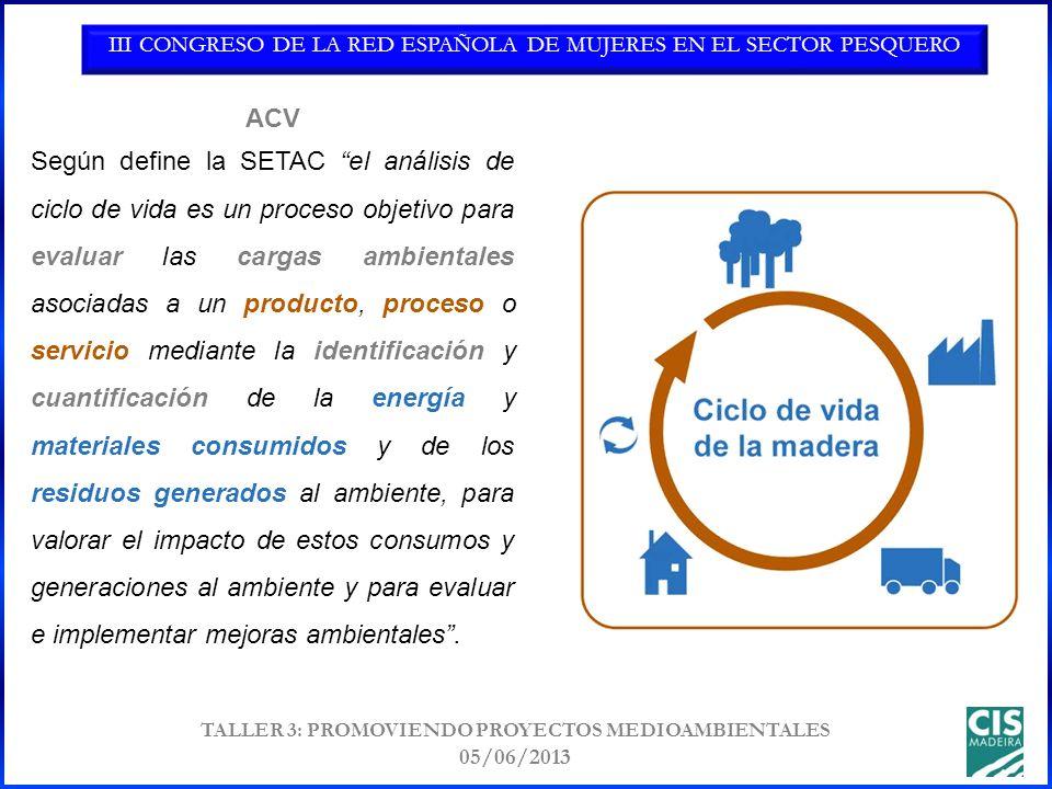 III CONGRESO DE LA RED ESPAÑOLA DE MUJERES EN EL SECTOR PESQUERO TALLER 3: PROMOVIENDO PROYECTOS MEDIOAMBIENTALES 05/06/2013 Según define la SETAC el análisis de ciclo de vida es un proceso objetivo para evaluar las cargas ambientales asociadas a un producto, proceso o servicio mediante la identificación y cuantificación de la energía y materiales consumidos y de los residuos generados al ambiente, para valorar el impacto de estos consumos y generaciones al ambiente y para evaluar e implementar mejoras ambientales.