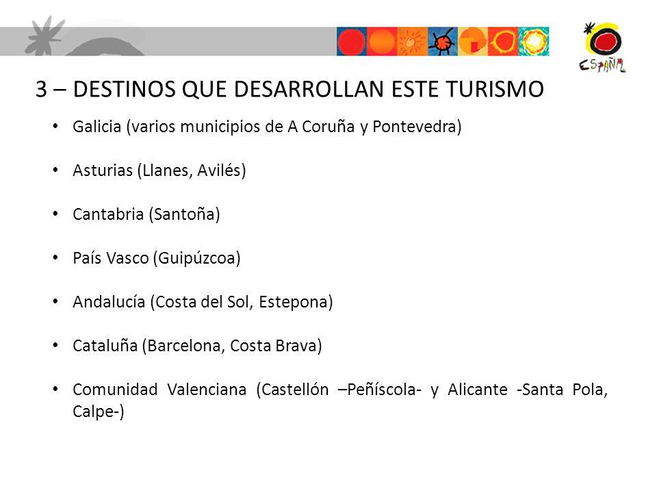 3 – DESTINOS QUE DESARROLLAN ESTE TURISMO Galicia (varios municipios de A Coruña y Pontevedra) Asturias (Llanes, Avilés) Cantabria (Santoña) País Vasc