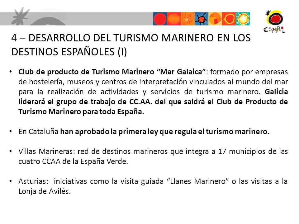 4 – DESARROLLO DEL TURISMO MARINERO EN LOS DESTINOS ESPAÑOLES (I) Club de producto de Turismo Marinero Mar Galaica: formado por empresas de hostelería