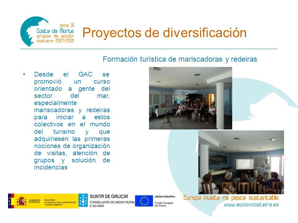 Proyectos de diversificación Formación turística de mariscadoras y redeiras Desde el GAC se promovió un curso orientado a gente del sector del mar, es