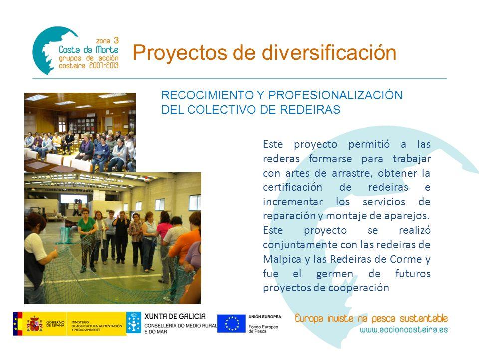 Proyectos de diversificación RECOCIMIENTO Y PROFESIONALIZACIÓN DEL COLECTIVO DE REDEIRAS Este proyecto permitió a las rederas formarse para trabajar c