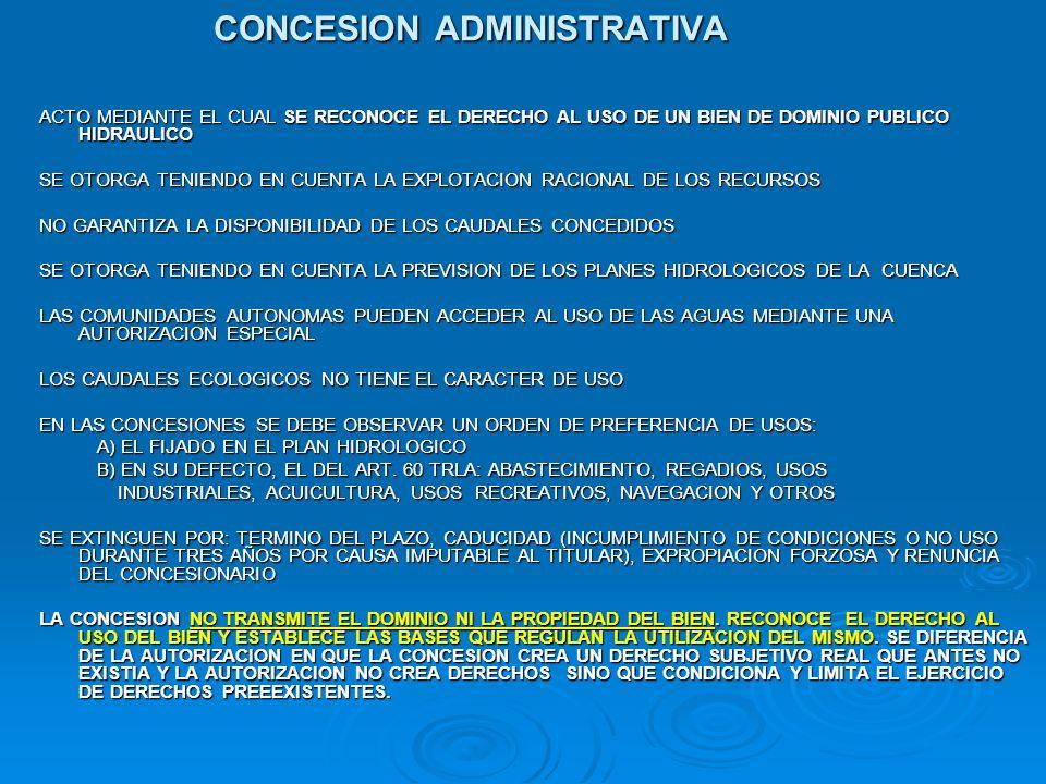 CONCESION ADMINISTRATIVA ACTO MEDIANTE EL CUAL SE RECONOCE EL DERECHO AL USO DE UN BIEN DE DOMINIO PUBLICO HIDRAULICO SE OTORGA TENIENDO EN CUENTA LA