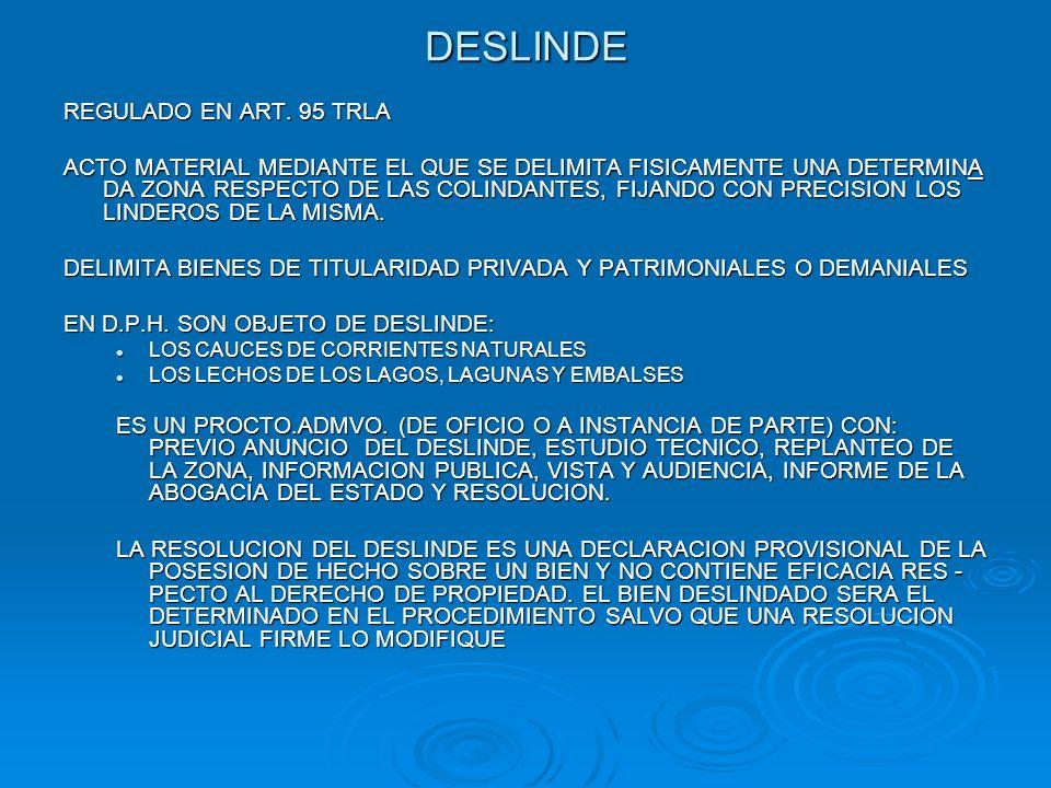 DESLINDE REGULADO EN ART. 95 TRLA ACTO MATERIAL MEDIANTE EL QUE SE DELIMITA FISICAMENTE UNA DETERMINA DA ZONA RESPECTO DE LAS COLINDANTES, FIJANDO CON