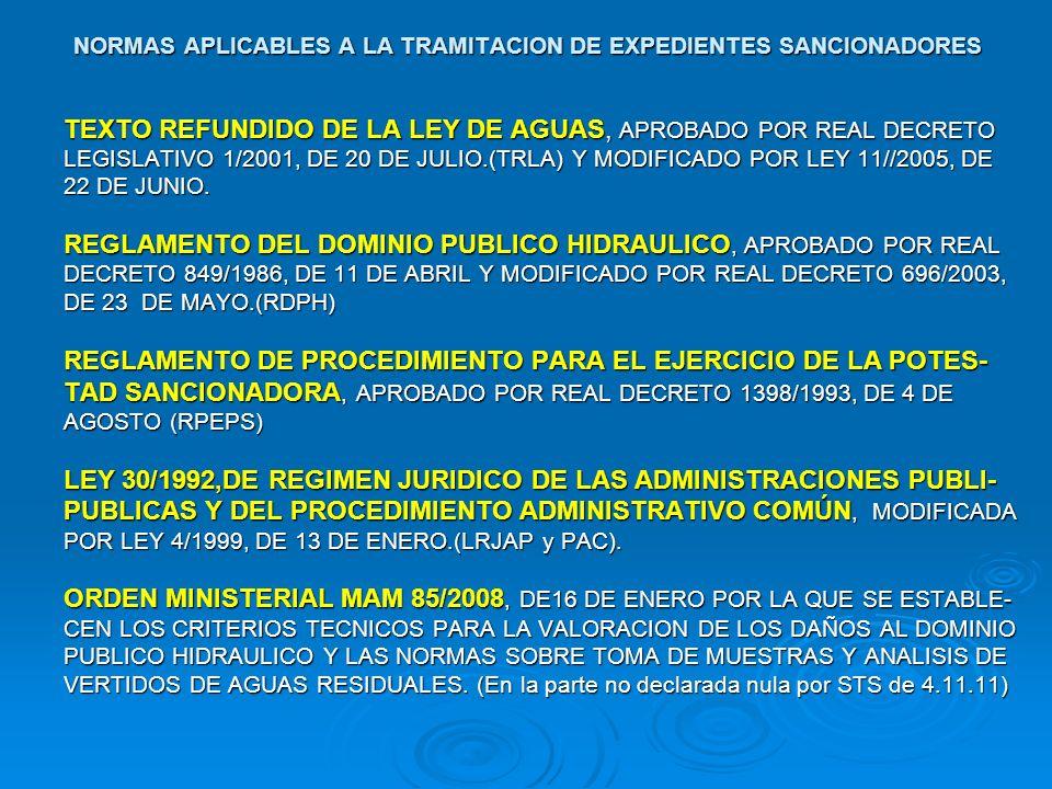 NORMAS APLICABLES A LA TRAMITACION DE EXPEDIENTES SANCIONADORES TEXTO REFUNDIDO DE LA LEY DE AGUAS, APROBADO POR REAL DECRETO LEGISLATIVO 1/2001, DE 2