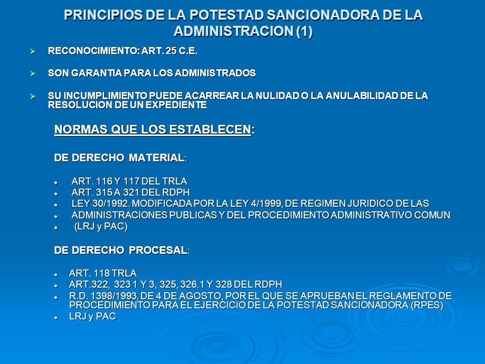 PRINCIPIOS DE LA POTESTAD SANCIONADORA DE LA ADMINISTRACION (1) RECONOCIMIENTO: ART. 25 C.E. RECONOCIMIENTO: ART. 25 C.E. SON GARANTIA PARA LOS ADMINI
