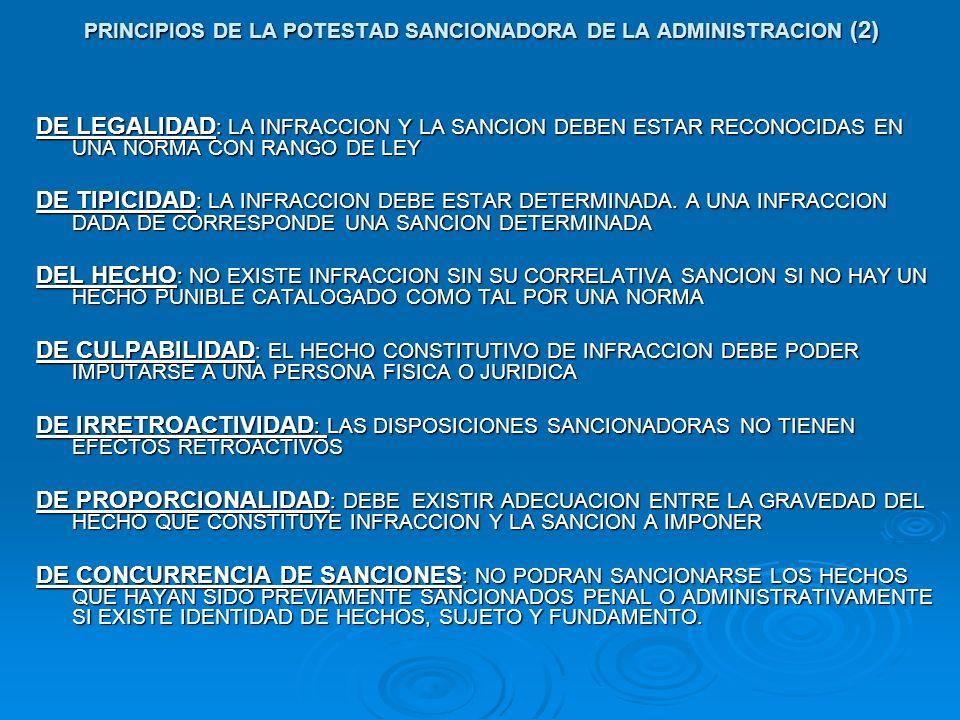 PRINCIPIOS DE LA POTESTAD SANCIONADORA DE LA ADMINISTRACION (2) DE LEGALIDAD : LA INFRACCION Y LA SANCION DEBEN ESTAR RECONOCIDAS EN UNA NORMA CON RAN