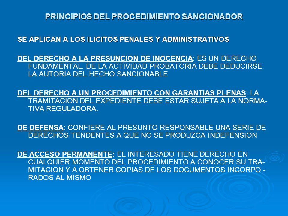PRINCIPIOS DEL PROCEDIMIENTO SANCIONADOR SE APLICAN A LOS ILICITOS PENALES Y ADMINISTRATIVOS DEL DERECHO A LA PRESUNCION DE INOCENCIA: ES UN DERECHO F